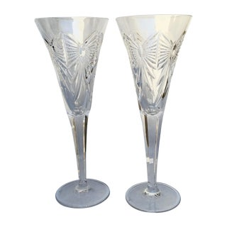 Waterford Crystal Champagne Flutes - Pair For Sale