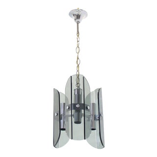Veca Smoked Glass Chrome Light Fixture Pendant Chandelier For Sale