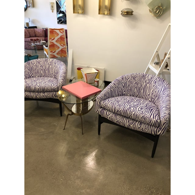 Mid Century Modern Pair of Lawrence Peabody Newly Upholstered Barrel Back Lounge Chairs - Image 5 of 12