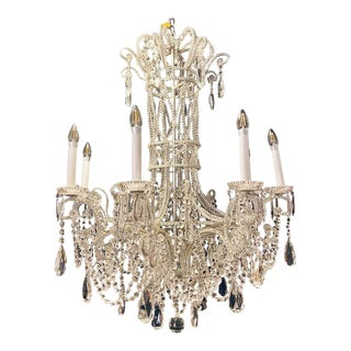 Silver Leaf Iron Chandelier With Fine Crystal Bead and Pendant Decoration For Sale