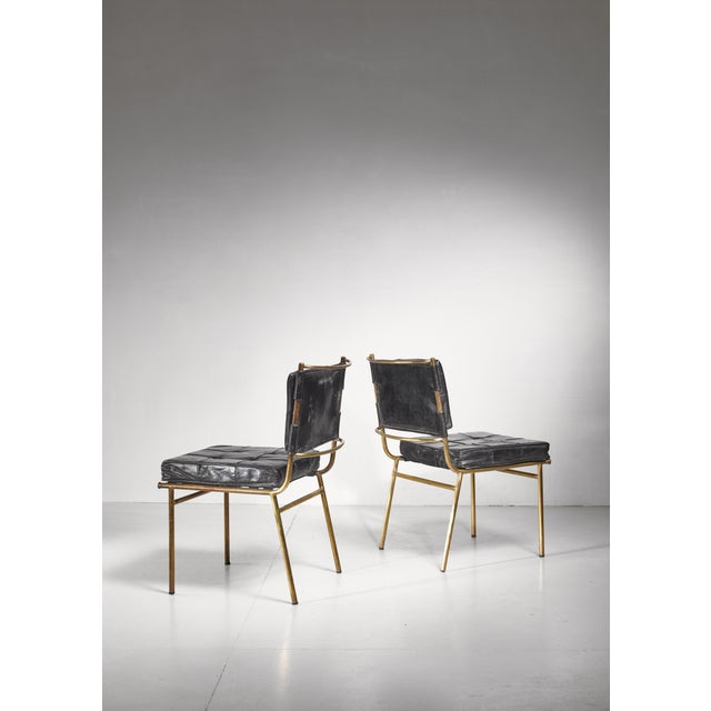 Gold Mathieu Mategot Rare Pair of Brass and Leather Chairs, France For Sale - Image 8 of 8