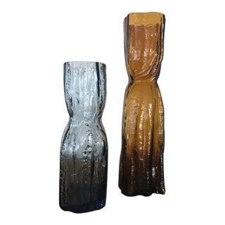 Vintage Scandinavian Lindshammar Glass Vases - A Pair For Sale