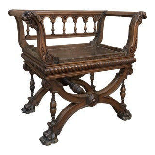 19th Century Italian Renaissance Walnut Armbench For Sale
