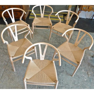 Contemporary Danish 1960s Style Wishbone White Oak Riff Wood Arm Chairs - Set of 6 Preview