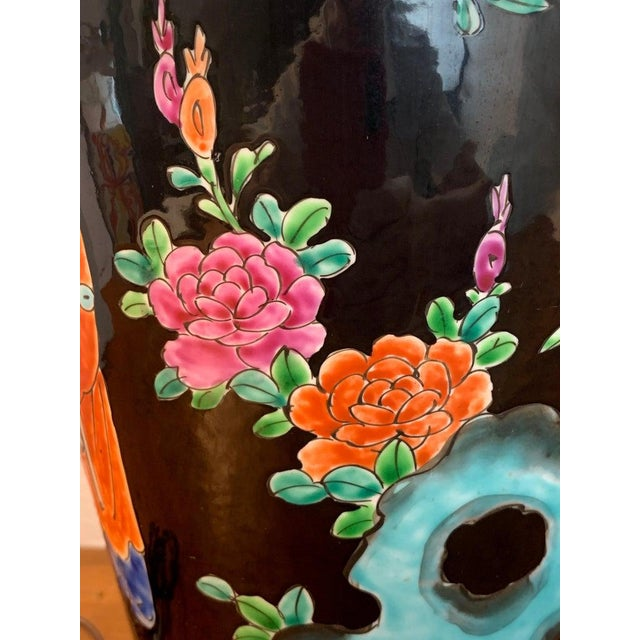 Japanese Vase With Black Background in the Style of Chinese Famille Verte For Sale - Image 10 of 11
