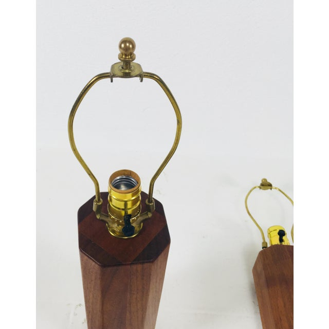 Hand Crafted Teak Lamps With Wood Shades - a Pair For Sale In Philadelphia - Image 6 of 11