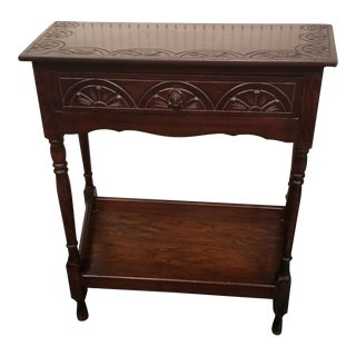 Antique Carved Oak Side Table For Sale