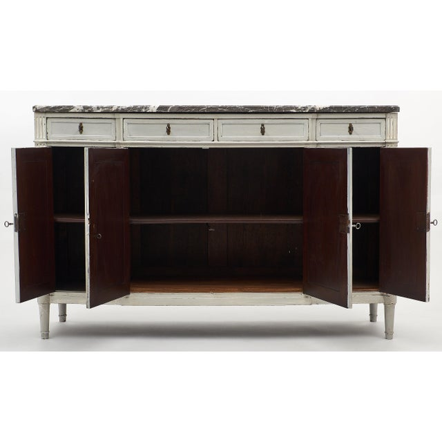 Bronze Painted Louis XVI Style Buffet With Marble Top For Sale - Image 7 of 11
