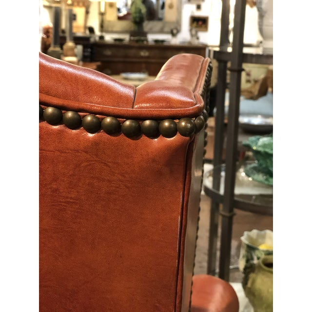 Metal Vintage Georgian Style Orange Leather Arm Chair With Brass Tacks & Stretcher For Sale - Image 7 of 13
