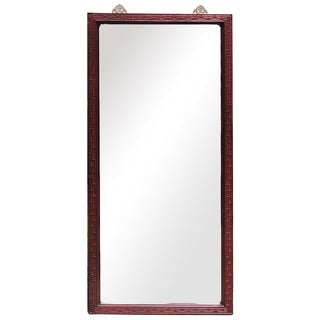 Red Wood Frame Rectangurlar Tall Floor Mirror