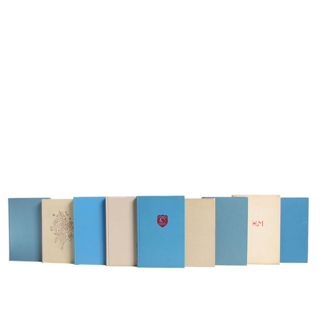 Midcentury Readings in Khaki & Cornflower, S/20. Twenty midcentury books featuring a variety of midcentury readings - all...