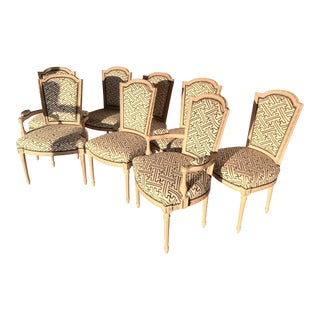 Custom Upholstered Louis XVI Style Nailhead Dining Chairs - Set of 8