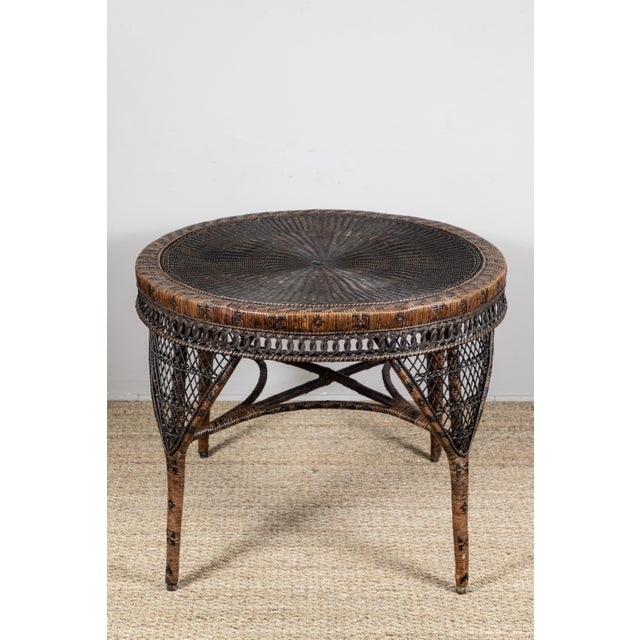 Victorian Wicker Round Side Table For Sale - Image 10 of 11