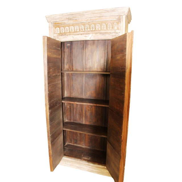 Beige Antique Haveli Carved Rustic Armoire For Sale - Image 8 of 9