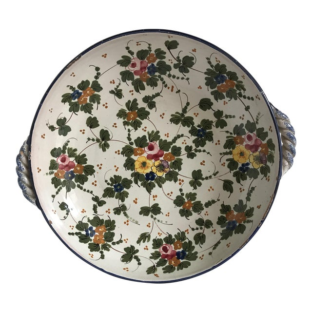 Vintage Rustic Tuscan Pottery Bowl For Sale