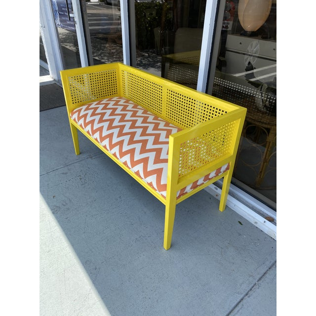Midcentury Cane Loveseat For Sale - Image 10 of 13
