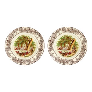 "1900s Vintage English Traditional Staffordshire ""Rural Scenes"" Polychrome Brown Transferware Decorative Plates - a Pair For Sale"
