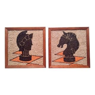 """1960s Vintage """"Gravel Art"""" Wall Decor - 2 Pieces For Sale"""