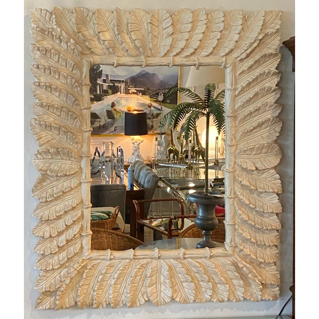 Vintage Tropical Palm Tree Leaf Leaves Faux Bamboo Wall Mirror For Sale - Image 9 of 9