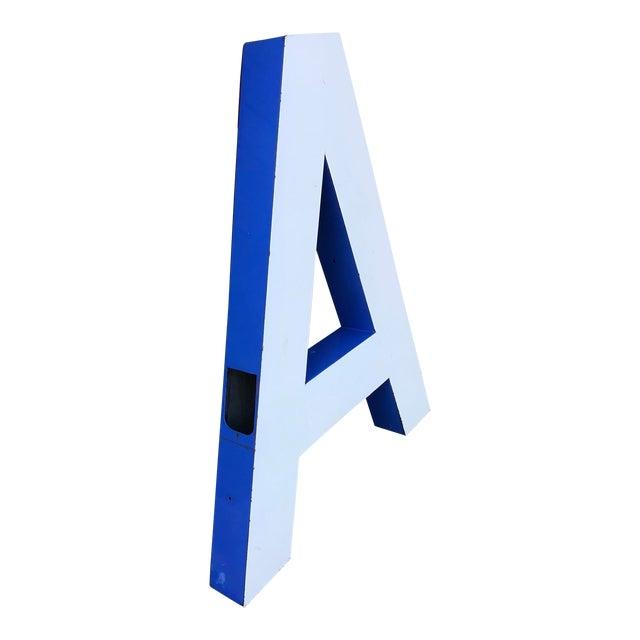 """Large Vintage Blue & White Enamel Metal """"L"""" Building Signage For Sale"""