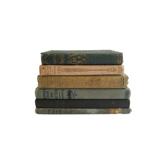 Antique Blue Gold and Pink Hardcover Book Collection Set of 6