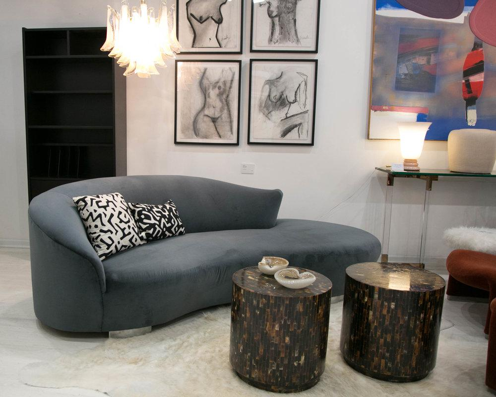 This Gorgeous Curved Sofa In A Coveted Design Has Been Fully Restored In A  Deep Slate