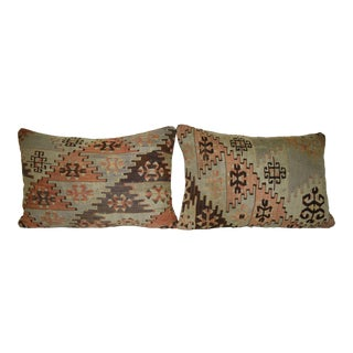Set of Two Traditional Lumbar Kilim Pillow Cover, Turkish Home Decor 16'' X 24'' (40 X 60 Cm) For Sale