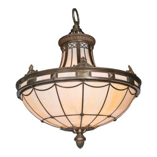 Antique 1900s Caldwell Leaded Glass Light Fixture For Sale