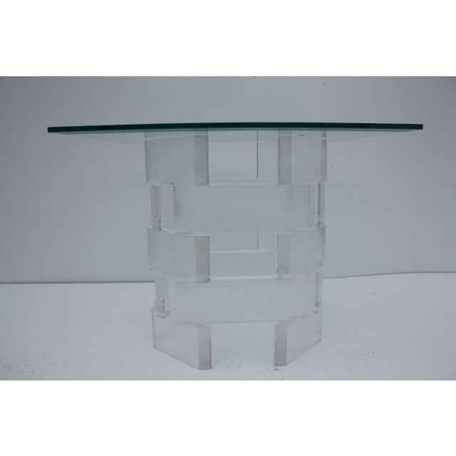 Sculptural Stacked Lucite & Glass Top Side Table - Image 2 of 10