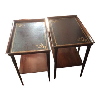 Antique H. L. Benbough & Co. Leather Top Side Tables - a Pair