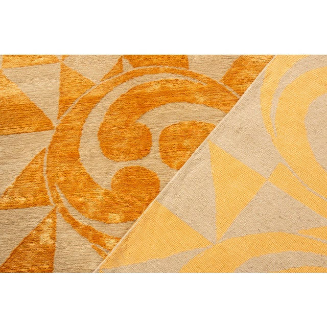 "Contemporary Hand Knotted Golden ""Kaleidoscope"" Rug For Sale - Image 10 of 11"