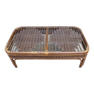 Vintage Crespi Inspired Pencil Reed Rattan Coffee Table For Sale