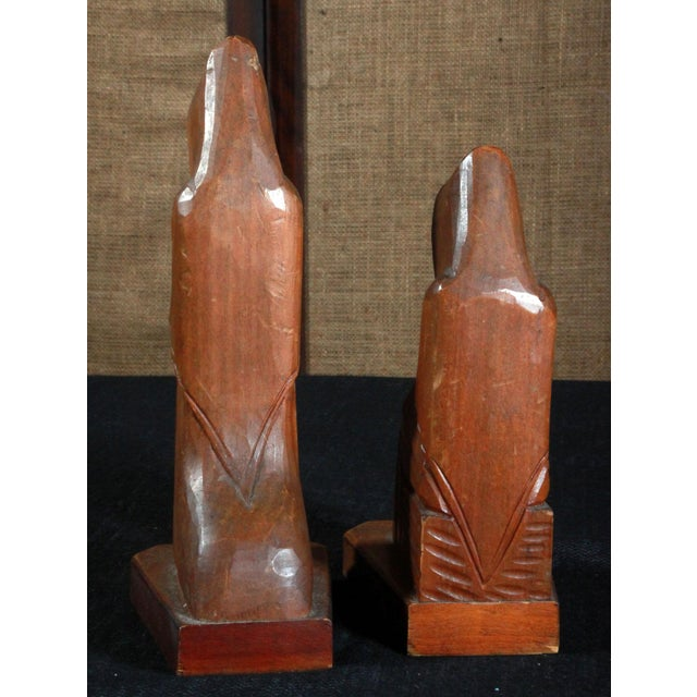 Vintage Hand Carved Mexican Monk Figures - Pair For Sale - Image 5 of 7