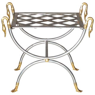 Maison Jansen Steel and Brass Swan Bench