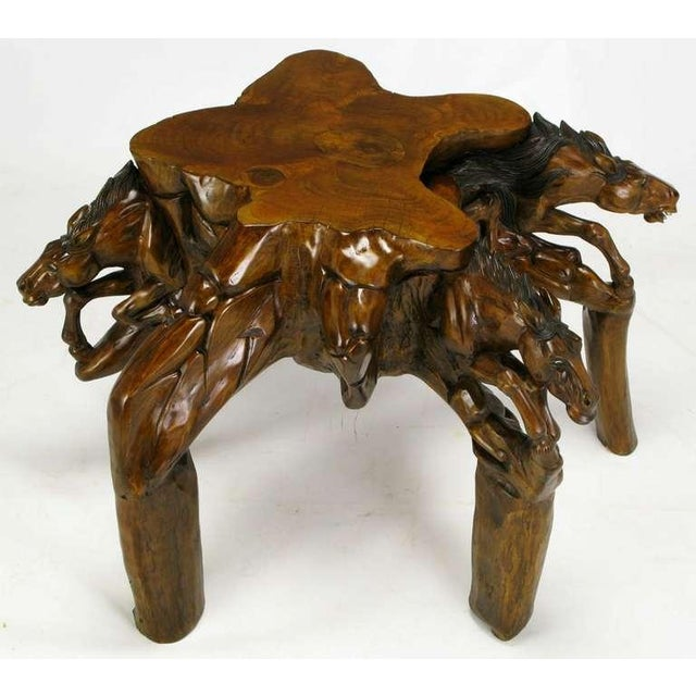 Incredible Equine Carved Wood Coffee Table - Image 7 of 9