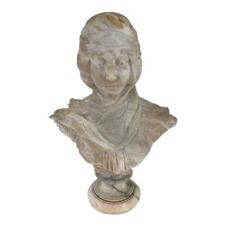 19th Century Alabaster Portrait Bust of Dante's Beatrice