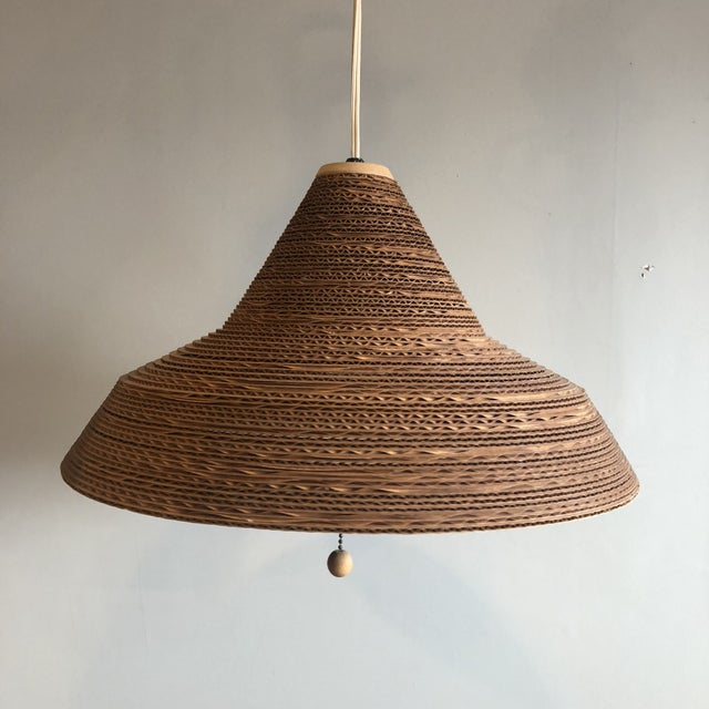 Brown Mid Century Modern Frank Gehry Style Cardboard Hanging Light For Sale - Image 8 of 8