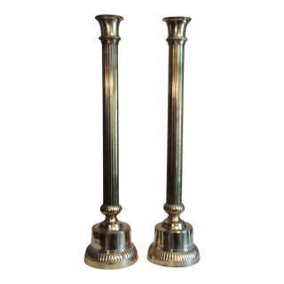 Tall Fluted Brass Altar Candlesticks - A Pair For Sale