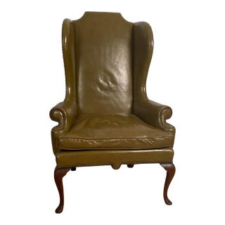 Vintage Leather English Wing Chair Circa 1720 For Sale