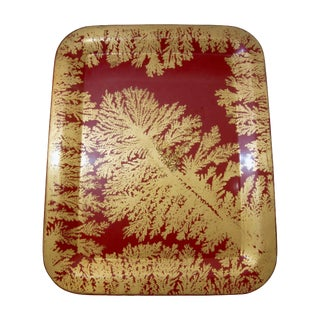 Fornasetti Red and Gold Serving Tray For Sale