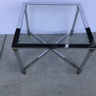 1970s Hollywood Regency Chrome and Brass Small Coffee Table Preview