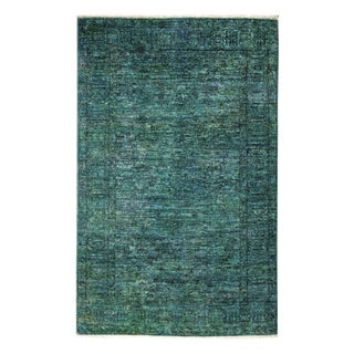 """Vibrance, Hand Knotted Emerald Green Wool Area Rug - 4' 0"""" X 5' 10"""" For Sale"""