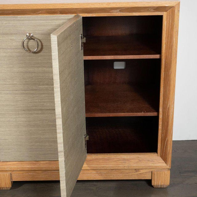 1980s Modernist Bleached Cerused Oak and Grass Cloth Sideboard with Polished Nickel Pulls For Sale - Image 5 of 10