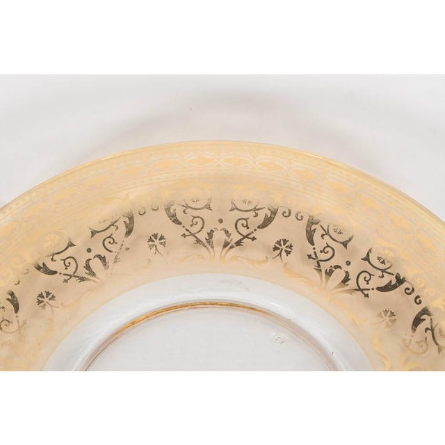 Splendid Set of Six Antique Gilded and Sterling Overlay Glass Dessert Plates For Sale - Image 4 of 11
