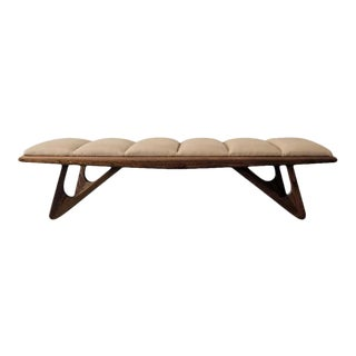 Walnut Stain Sculptural Bench With Channel Tufted Leather For Sale