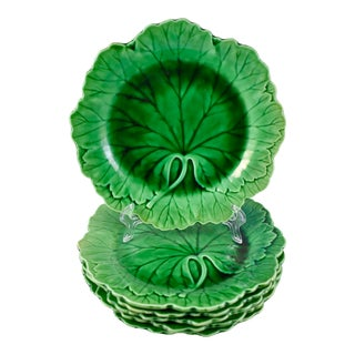 1920s Wedgwood Majolica Green Cabbage Leaf Plate, Multiples Available For Sale