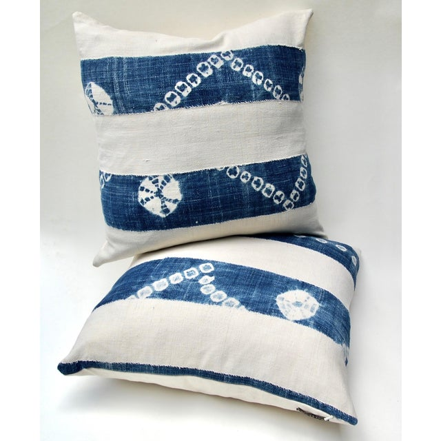 African Indigo Tie-Dye Pillow Pair For Sale - Image 4 of 7