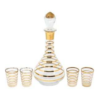 Vintage Glass and Gold Stripe Brandy Decanter With Glasses - Set of 5 For Sale