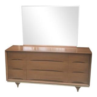 Kent Coffey Mid Century Modern Credenza & Mirror For Sale