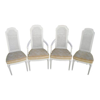 1970s French Country Henredon Cane Back Dining Chairs - Set of 4 For Sale